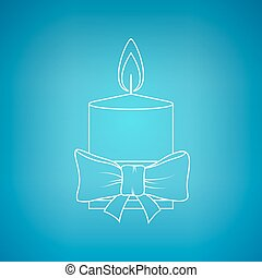 Christmas Festive Candle on a Blue Background