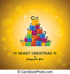 christmas festive celebrations with gift boxes as xmas tree - vector. The concept graphic can represent festivals like x-mas, new year, birthday & wedding events other personal events