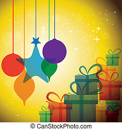 christmas festive celebrations with gift boxes & baubles - vector. The concept graphic can represent festivals like x-mas or xmas, new year, birthday & wedding events, etc