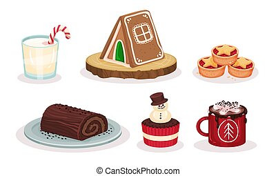 Christmas Festive Dishes and Desserts Set, Chocolate Roll, Cupcake Decorated with Snowman, Cup of Cocoa with Marshmallows, Gingerbread House Vector Illustration