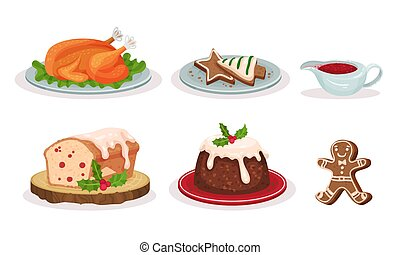 Christmas Festive Dishes and Desserts Set, Traditional Delicious Holiday Meal, Roast Turkey, Gingerbread, Cupcake, Pudding Vector Illustration