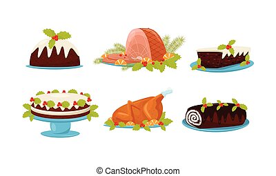 Christmas Festive Dishes and Desserts Set, Traditional Delicious Holiday Meal Vector Illustration