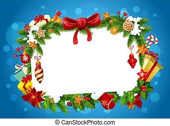 Christmas festive frame, greeting card
