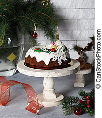 christmas festive fruit cake for dessert