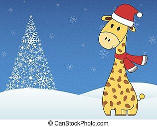 Christmas festive giraffe on winter snowing background