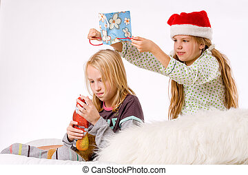 Christmas fight revenge - Two children having a fight about...