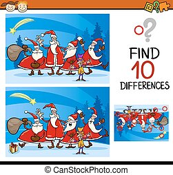 christmas find differences task - Cartoon Illustration of...