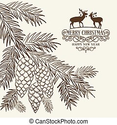 Christmas fir and pinecone