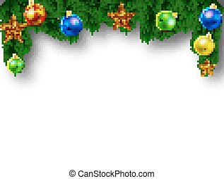 Christmas fir branch with embellishment