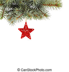 Christmas fir branch with multicoloured, stars on a white ...
