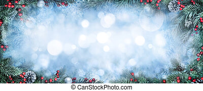 Christmas fir branches and bokeh background