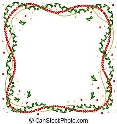 Christmas fir branches frame