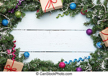 Christmas fir branches with gifts
