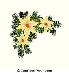 Christmas fir garland on white Vector