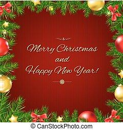 Christmas Fir Tree Border Card With Gradient Mesh, Vector...