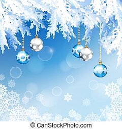 Christmas Fir Tree Branches Vector Background