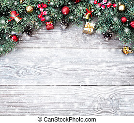 Christmas fir tree branches with toys