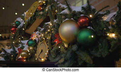 Christmas fir-tree decorated with New Year's ball