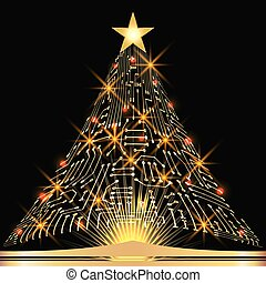 Christmas fir tree from digital electronic circuit with ...
