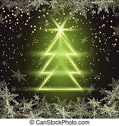 Christmas fir tree on green background.