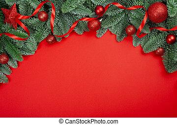 Christmas fir tree on red