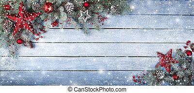 Christmas Fir Tree On Wooden