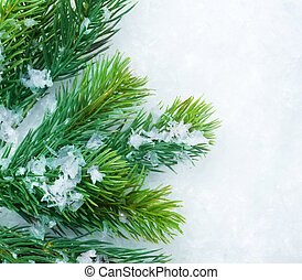 Christmas Fir Tree over Snow. Winter Background
