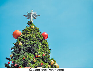 Christmas fir tree with ball decorations.