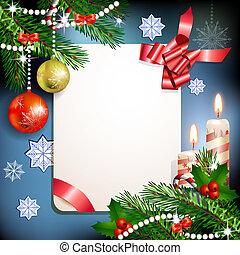 Christmas fir tree with banner