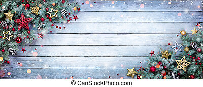 Christmas Fir Tree With Baubles And Snowflakes On Wooden...