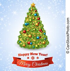 Christmas fir tree with colorful baubles and gold star.