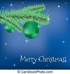 Christmas fir tree with green balls stars on a blue holiday back