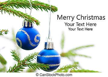 Christmas Fir Tree With Two Blue Christmas Balls With Merry Christmas