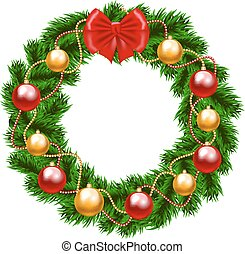 Christmas fir-tree wreath with bow and baubles