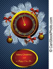 christmas fir wreath and golden watch - golden watch and...
