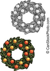 Christmas fir wreath with balls vector sketch