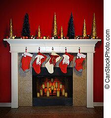 Christmas Fireplace - A Beautiful scene of a christmas...