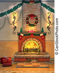 Christmas Fireplace - a wonderfully warm fire blazing in the...
