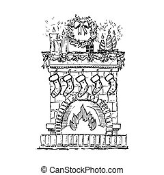 Christmas fireplace decorated. Vector illustration isolated on white