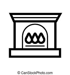 Christmas fireplace flat illustration. Fireplace on white background. Vector icon