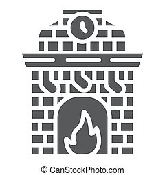 Christmas fireplace glyph icon, holiday and fire, fireplace with stocking sign, vector graphics, a solid pattern on a white background.