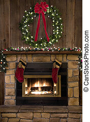 Christmas Fireplace Hearth with Wreath and Stockings - Two...