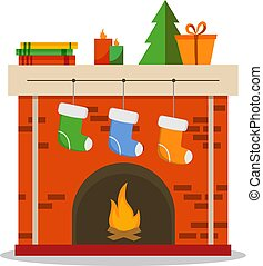Christmas fireplace icon flat illustration isolated on white background, vector
