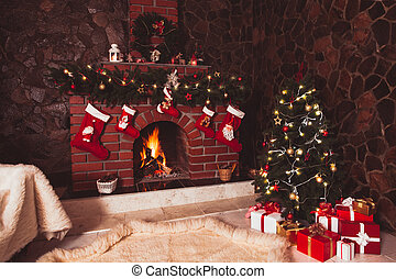 Christmas fireplace in the room