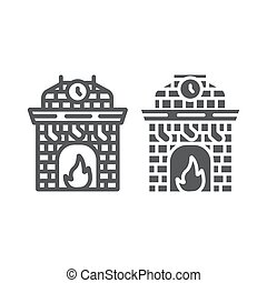 Christmas fireplace line and glyph icon, holiday and fire, fireplace with stocking sign, vector graphics, a linear pattern on a white background.