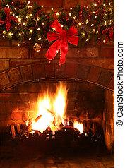 Christmas Fireplace - Log fire with Christmas garland and...