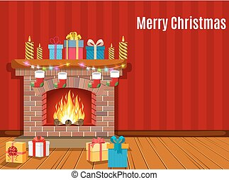 Christmas fireplace room interior