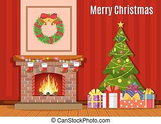 Christmas fireplace room interior