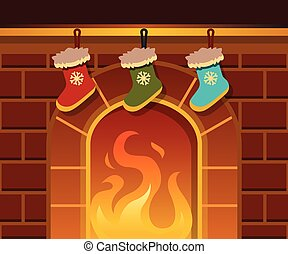 Christmas fireplace. Vector cartoon