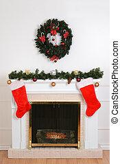 christmas fireplace with santa sock